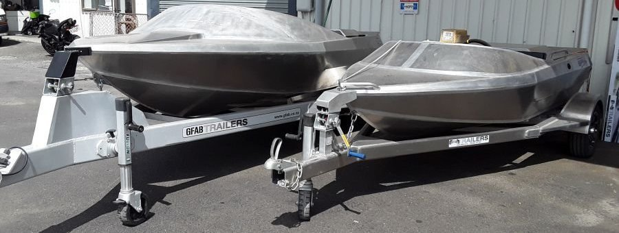 GFAB alloy 4600 and 3350 jetboats with custom built trailers to suit
