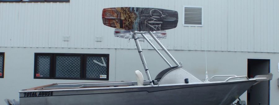 Custom alloy rocket launcher with wake-board brackets