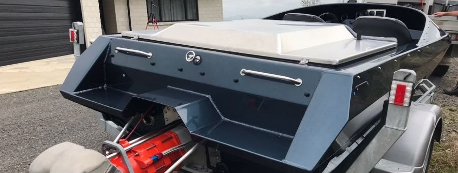 boarding platform on a GFAB 4600 jetboat hull